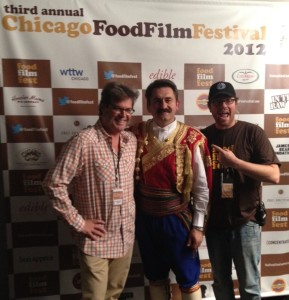 City Fresh Market co-founder Danny Kovacevic in traditional Montenegrin dress, together with the Food Film Festival team.